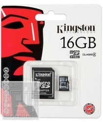 Kingston 16GB MicroSDHC Class 4 memória kártya adapterrel