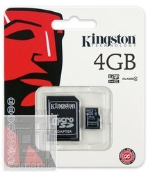 Kingston 4GB MicroSDHC Class 4 memória kártya adapterrel